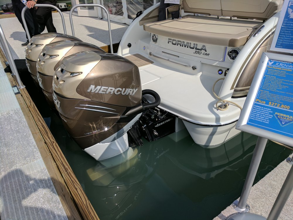 Formula 350 CBR with triple outboards. Cruisers with outboards is a new trend.