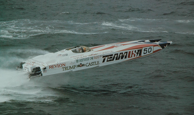 Don Johnson's Team USA 50 ft. Revenge. Offshore Superboat class.