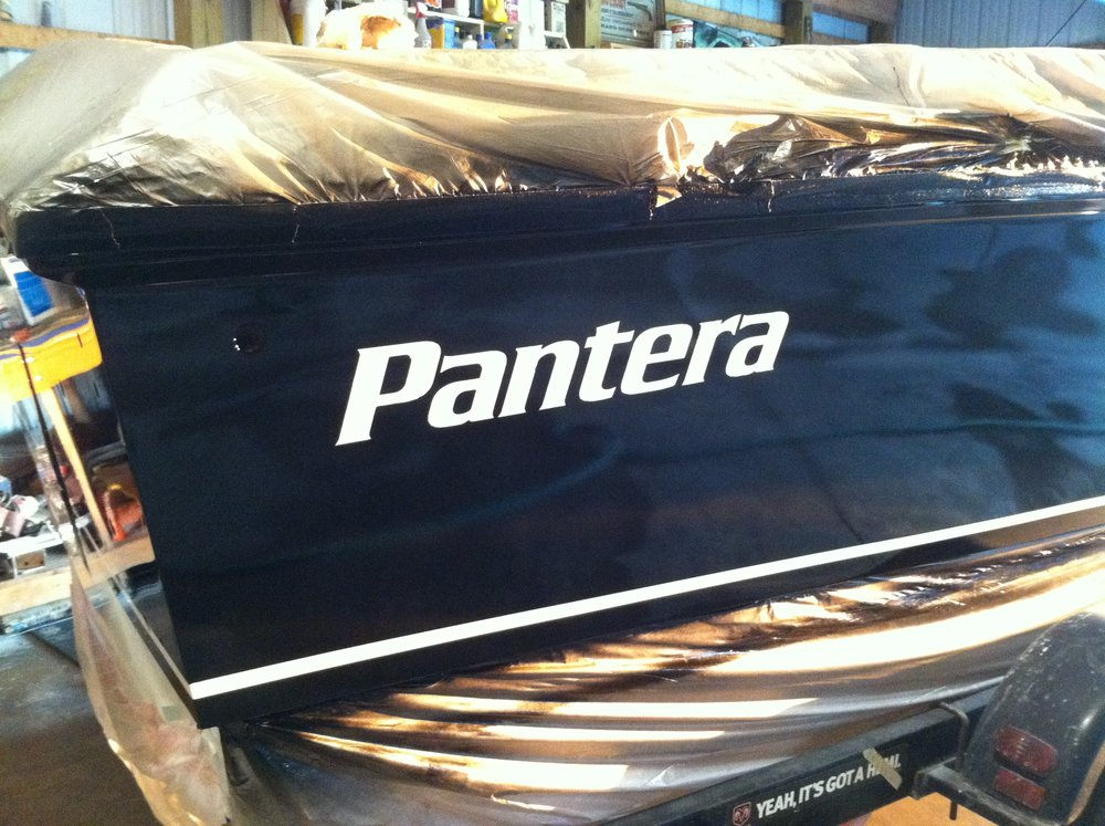 The Pantera name was painted white, on the black hull sides, along with the boot stripe. Clear covers the two tone paint.