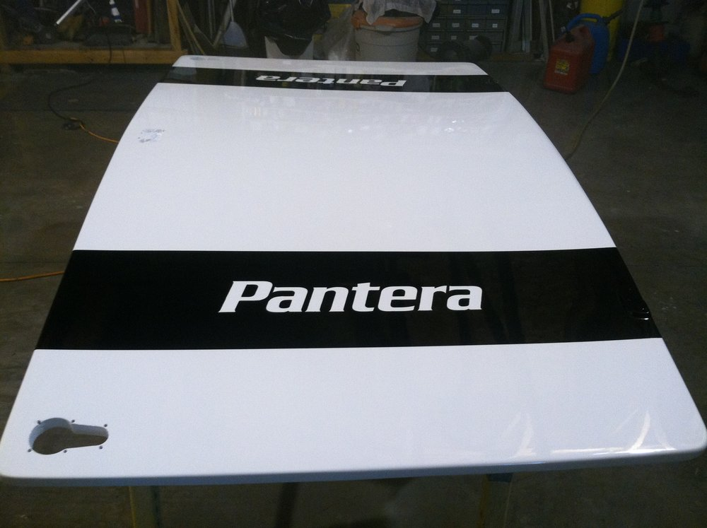 Custom painted engine cover.