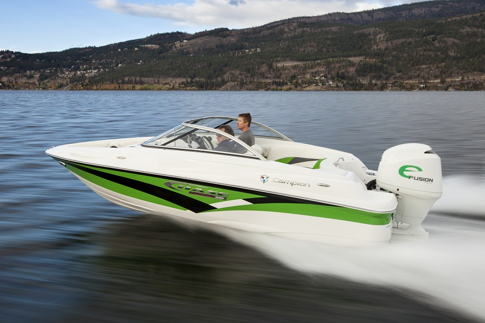 The 180 HP eFusion by ReGen Nautic USA. On this Campion bowrider, you can see it plowing through the water, wasting precious energy like a drunk person who passes out and leaves all the lights on after the party.