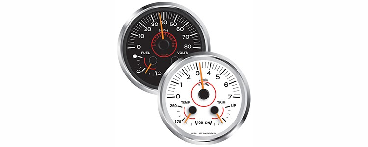 Evinrude Icon Gauges, clean design. Polished or chrome rims are not great in the sun though. The Icon 2 gauges come in an over sized version, which are great for big dashes or multi gauges.
