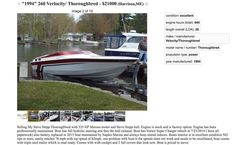 Velocity Thoroughbred 260