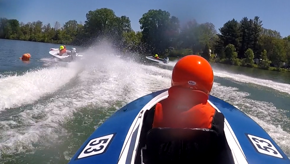 Race - Tom Schnull's Rapid Craft Cyclone in action. About as much fun as racing gets.