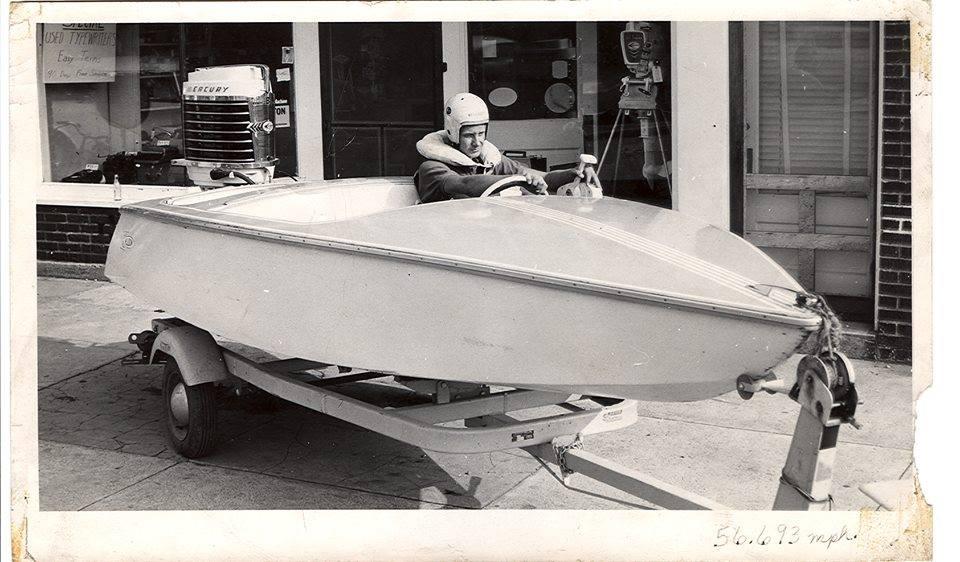Paul Allison - An early Allison race boat, wood, flat bottom design.
