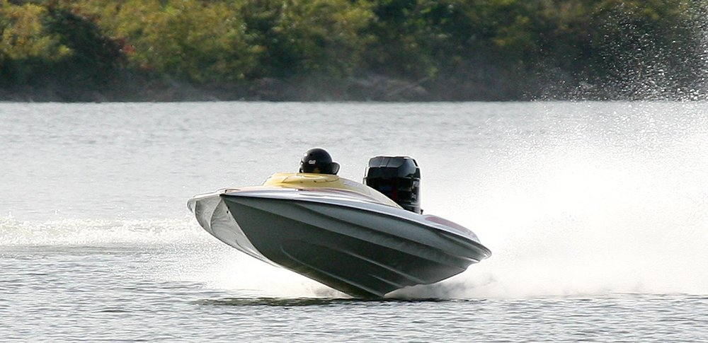 An Allison XR race boat. The hull is defined by its pad bottom, balance, design and ability to fly.