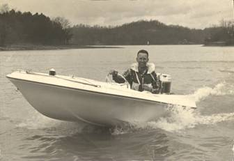 A 1960 era boat, with Paul at the wheel. Designer, innovator and racer.