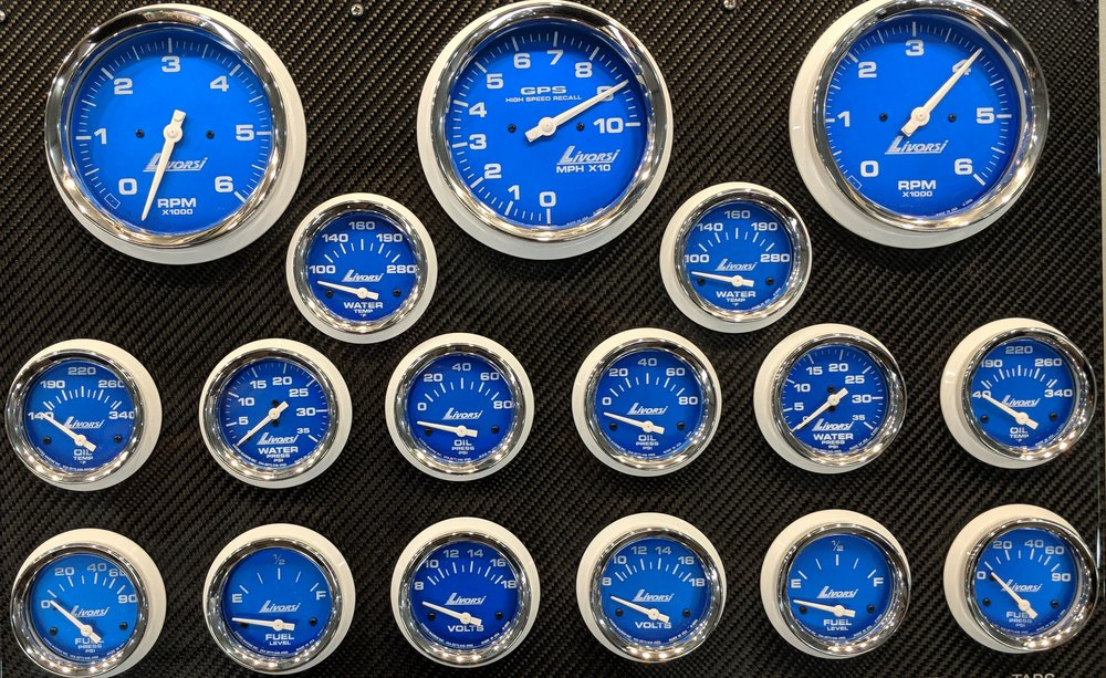Custom - Livorsi offers custom gauge sets in any color and design. These Blue monster gauges, with SS rims and white bezels are sharp.