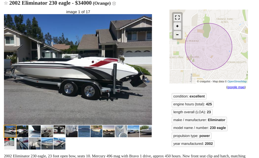 Eliminator 230 Eagle boat