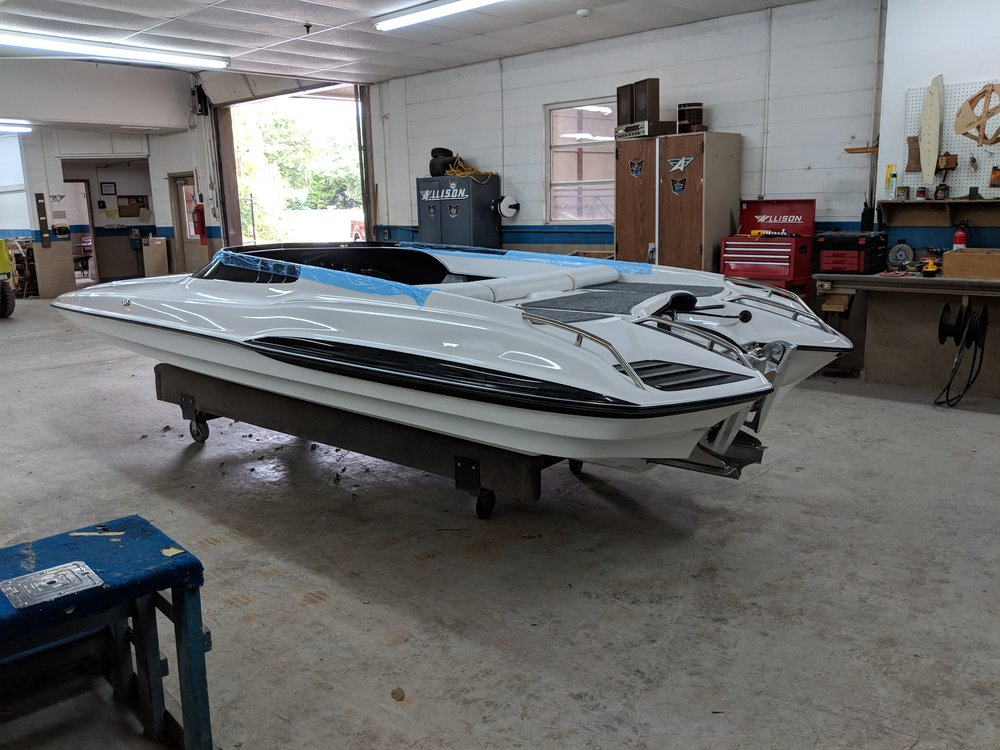 We will be putting a new Mercury 150 four stroke on our Allison Grand Sport, and see what it can do with some minor modifications. Should be fun to see.
