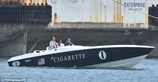 A 36' Pantera seen here with a wrap of the Cigarette graphics. Notice the stepped hull. Not the end of the world, the other boats featured in the crime were even worse examples of the boats back then.