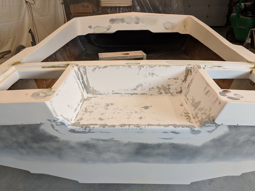 The smoothed out transom splash well. This provides a cleaner and stronger result.