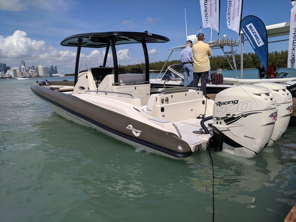 The Airship RIB 340, with twin Racing 400Rs, finished in an off white and grey. Absolutely beautiful boat, and really fast. Features a stepped 25 degree deadrise hull, to handle all water. Very versatile design.