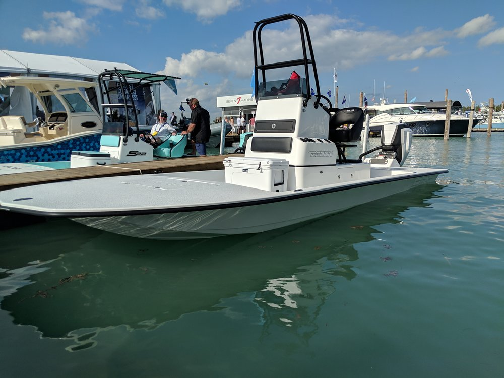 The SCB Recon is striking in person, seen here with an Evinrude G2.