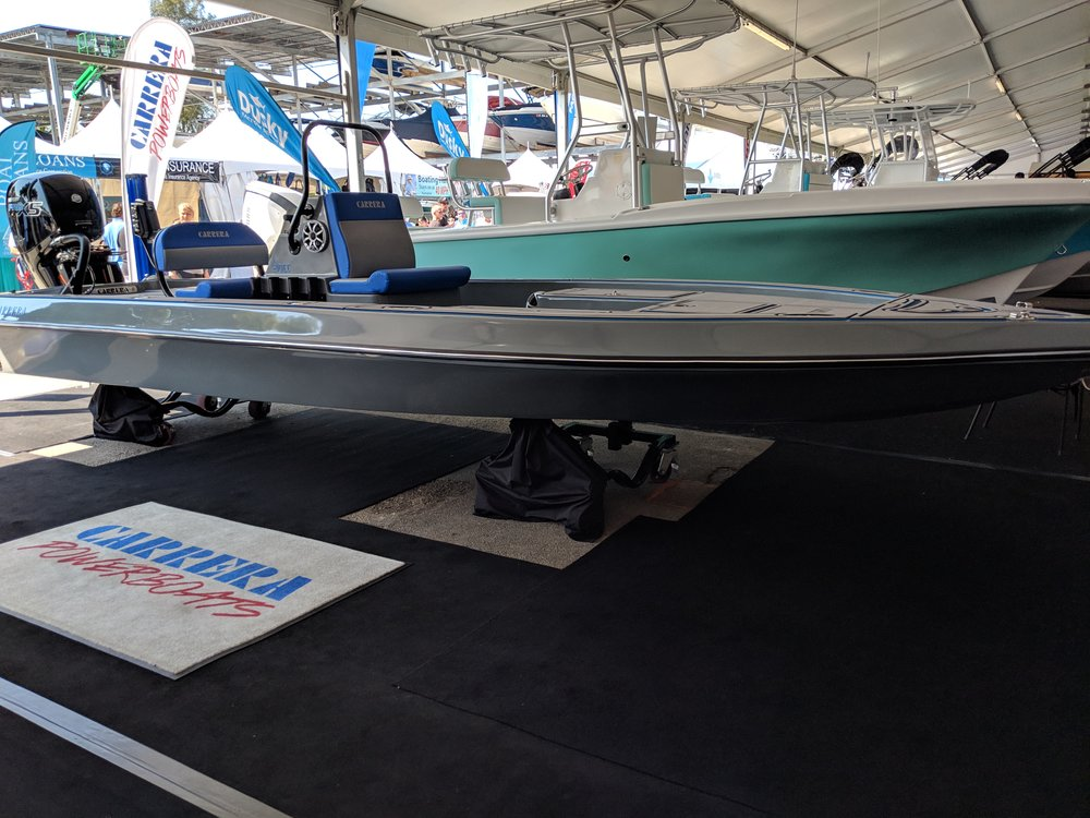 An interesting 21' center pod tunnel fishing boat from Carrera boats in Florida. Had a 150 ProXS.
