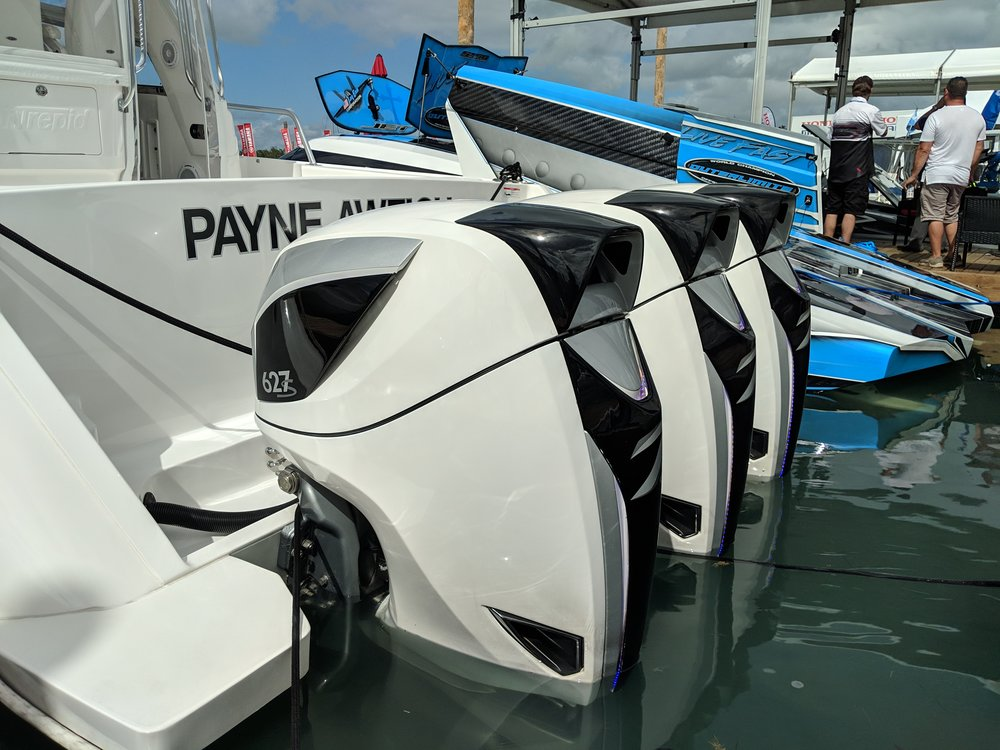 To me it's way more efficient to pare down and increase power, here's an example where you would need quads or quintuples of less power, but can run triple Seven 627's instead. The idea of a turnkey warrantied 627 HP outboard is insane, but here they are. Don't forget your wallet.