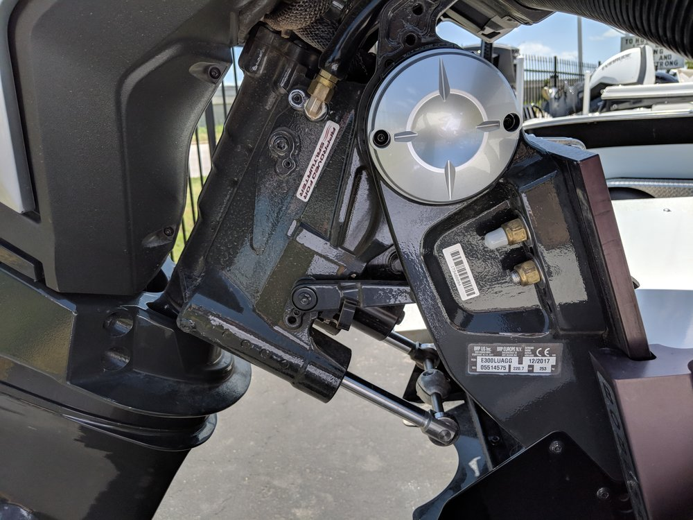"""The Evinrude G2 swivel bracket has about 4"""" of built in setback from the steering system."""