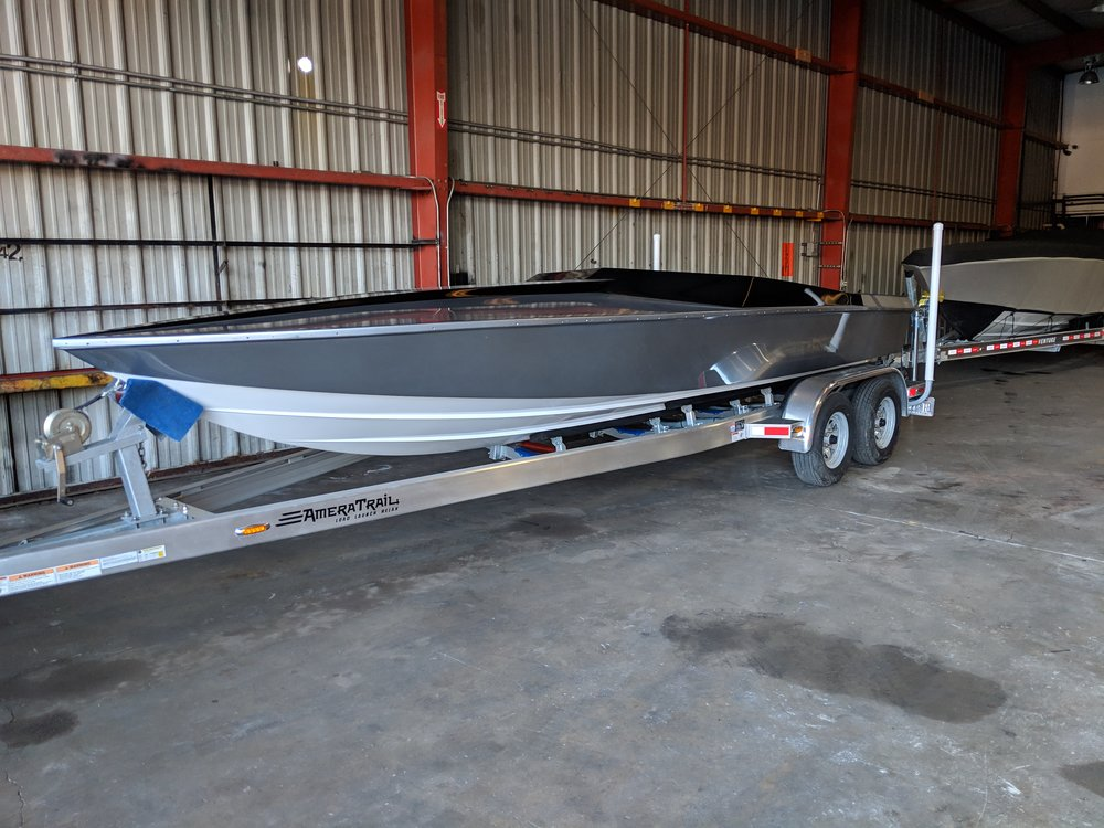 Hopefully it floats. Rigging will be fun. The AmeraTrail aluminum trailer fits really well. Might make some minor adjustments, but it tows really well.