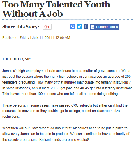 Too many talented youth without a job - The Gleaner article by Johnoy Davis (Godartiste)