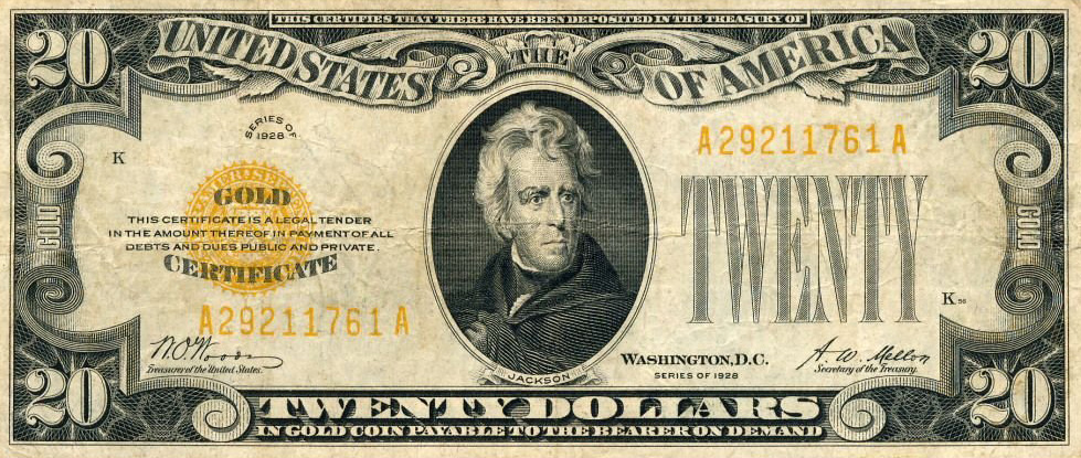 Pictured is a gold certificate used from 1863 to 1933 (although there is the rare 1934 issue) in the United States as a form of paper currency.