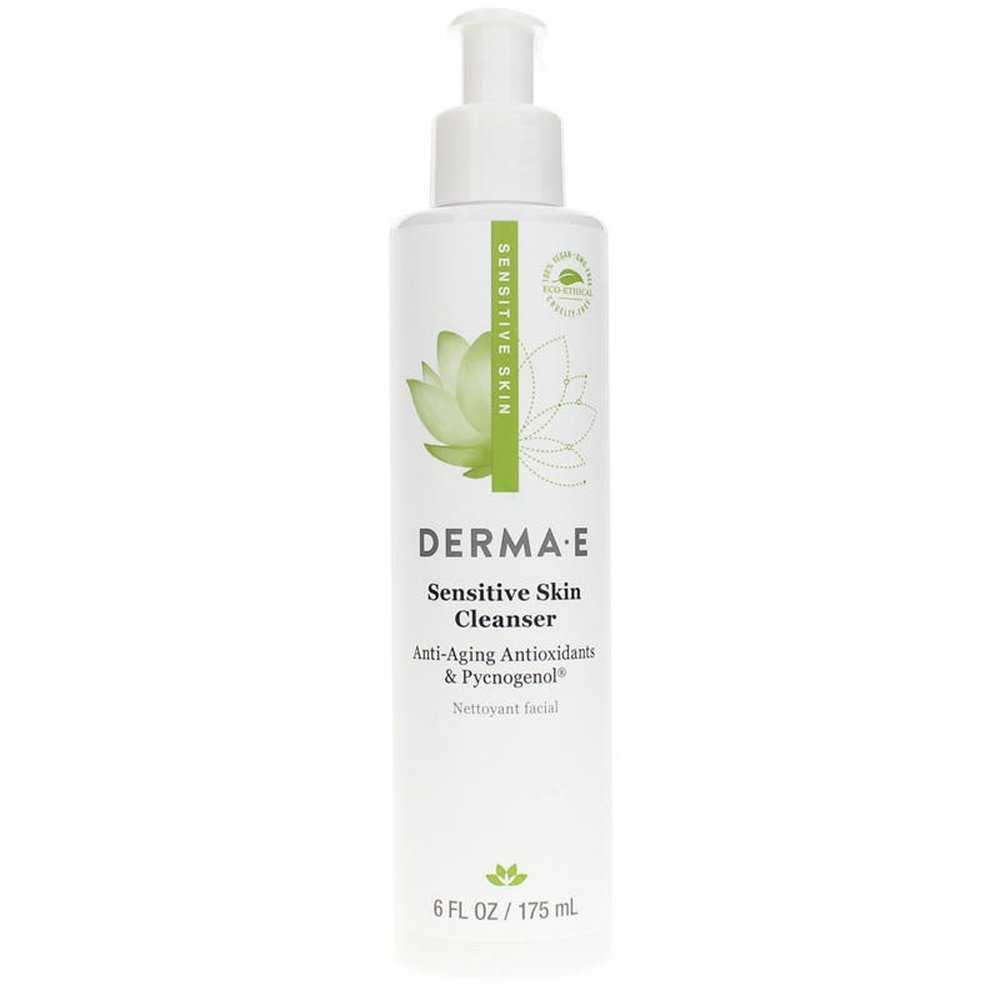 Derma e sensitive skin face wash - You're about to see a lot of Derma E product not because this is a sponsored post, but because it's pretty much all I use on my skin. My mom discovered this line, so props to Ellen. I don't know how the great and powerful skincare Oz (AKA my mom) stumbled upon this brand, but it's fantastic. It's gentle, everything-free, and available at most local, health-conscious grocery stores (e.g. Whole Foods, Sprouts), sometimes Target, and always on Amazon. I've never had a problem with this face wash. The only thing you'll have to get used to and not bitch about is that it doesn't foam. It's a creamy wash that doesn't lend itself to soaping up, so get over it and get better skin.