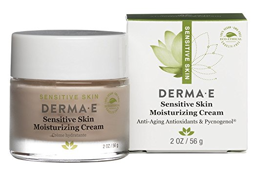DERMA E SENSITIVE SKIN DAILY MOISTURIZER - The coloring will throw you (it looks Potato here but IRL, it's lavender-ish), but don't be scurred — this stuff feels like face butter. I use this every. single. day. The weight of the cream is perfect — not too thick but also feels like you actually quenched your dry, dying skin. Again, it's super gentle since it has zero fragrance and is made with minimal ingredients. Mama* like.*I'm Mama but also I call my mom Mama and she uses/likes this, too. So.