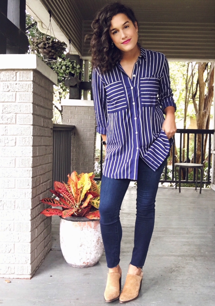 MIXED STRIPE BOYFRIEND SHIRT - This shirt. THIS 👏 FUGGIN 👏 SHIRT 👏 I can't say enough good stuff about this glorious top. It's soft. It's flattering. It's color is rich and beautiful (like me). And it's just... cool. I got a small, and don't listen to the reviews online about the arms being too tight? Definitely is not the case at all. I highly recommend this shirt. I plan to wear it next with black jeans and a military jacket. I KNOW, RIGHT?!Jeans // Shoes // Earrings // Lipstick