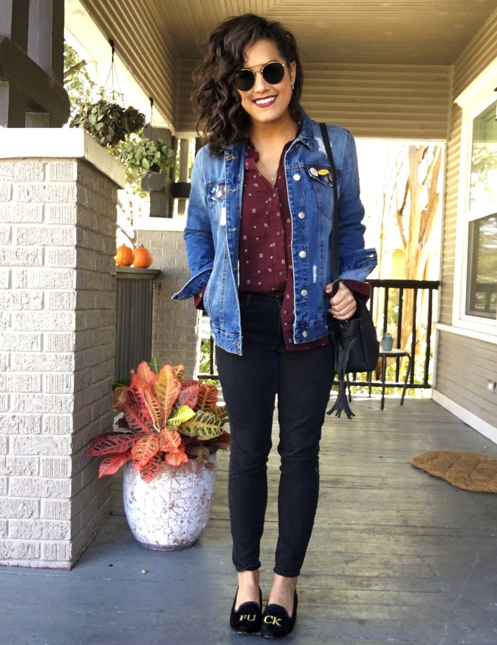 SEATTLE MOM STRIKES AGAIN - IDK why, but every time I do a layered denim jacket + button down look, I feel like I belong in the Pacific Northwest, driving a Subaru, and taking my kiddos to school (this is my actual dream, though). In my opinion, you can't go wrong with a layered look, and this one is casual, it's cute, it's popular to boot! Plus, this outfit gave me a prime opportunity to sport my FUCK shoes around town, which I did with pride. There are a lot of components to this look, so imma let you explore them at your leisure below.Shirt // Jacket // Jeans // Shoes // Bag // Sunnies // Lipstick in