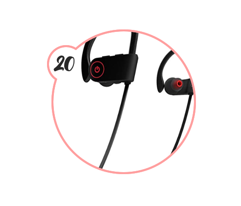BLUETOOTH EARBUDS - I've been talking about these forever. $20. Legitimately noise-cancelling. And do not crap out on you. I swear by these suckers — they've saved my workouts and walks.