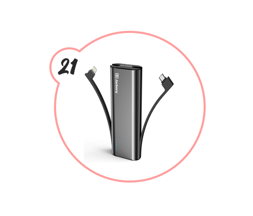 PORTABLE CHARGER - For the person whose phone is ALWAYS DYING. Give them this highly-rated portable charger and they don't have an excuse anymore. Throw it at their face for all I care.
