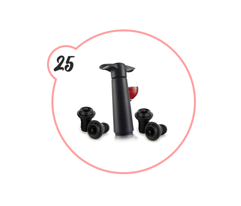 WINE VACUUM STOPPERS - On the flip, if you know your friend isn't fond of getting all fancy with their wine, gift them a wine vacuum pumper + stoppers to ensure their bottle of Pinot stays fresher, longer. These really work, and that's coming from my red-stained teeth.