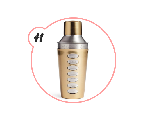 COCKTAIL SHAKER - Uh? This one is so dope. Not only is it gold, but it has the recipes on it? LOVE. NEED. WANT.