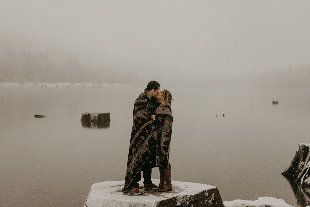 Snowy Engagement Photos Washington Seattle