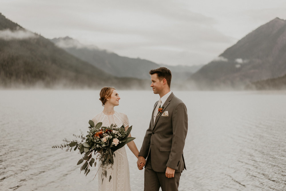 Beautiful mountain views by Lake Cushman for bride and groom on their wedding day