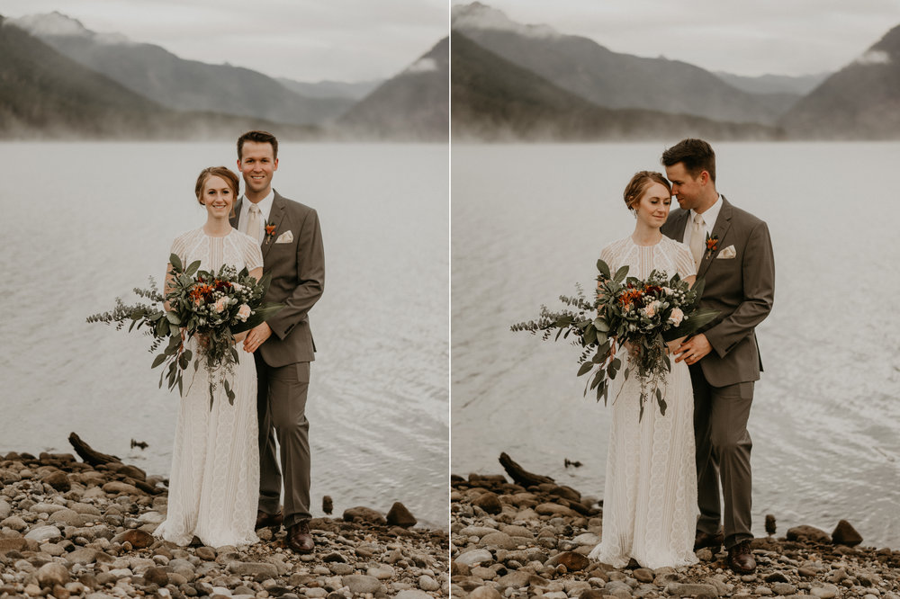 Bride and groom with elegant bouquet late fall in Lake Cushman
