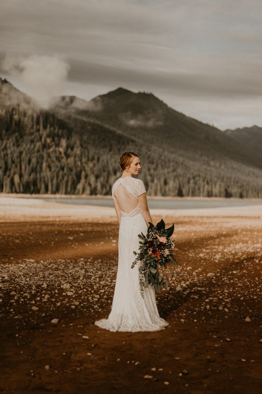 Boho wedding dress at Lake Cushman by Olympic National Park