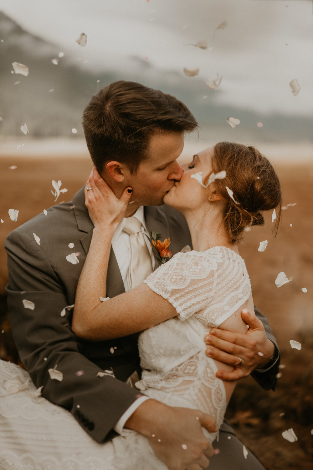 Beautiful moment between the newly weds by Olympic National Park Lake Cushman