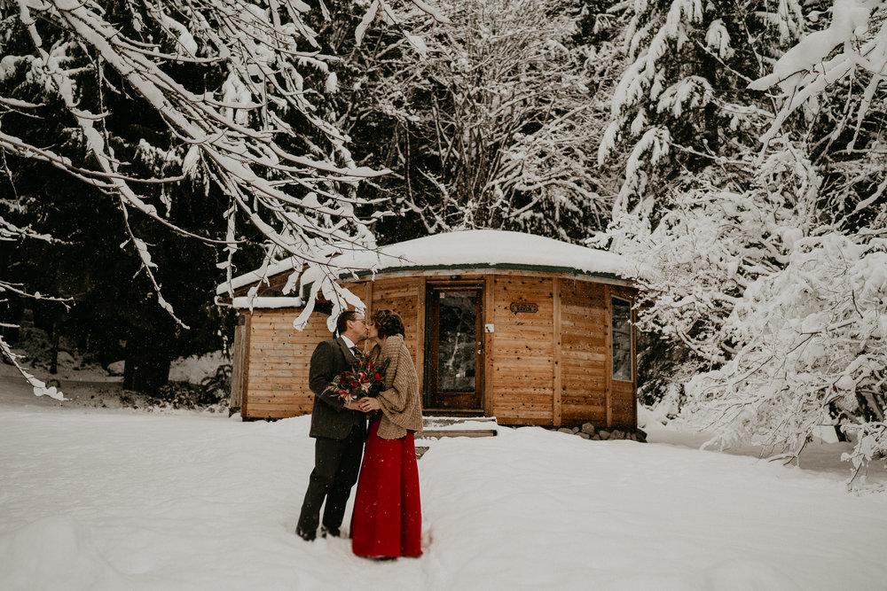 Snow winter elopement mt rainier national park seattle washington photographer