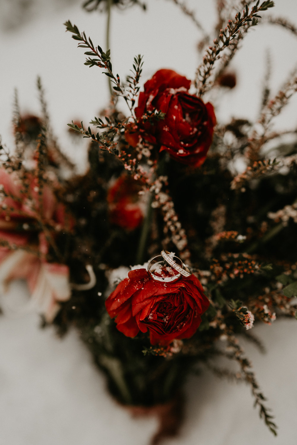 Rings on flowers wine red bouquet wedding seattle photographer