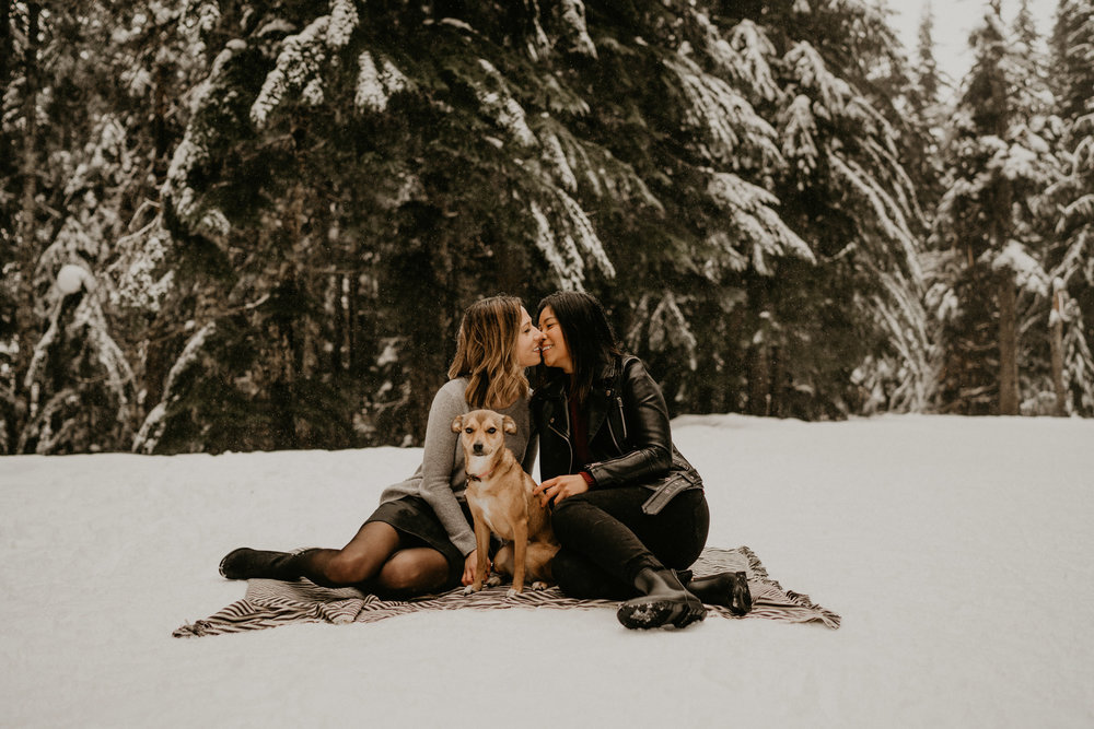 Portland Oregon Snow Columbia River Gorg Lesbian LGBT Gay Wedding Photographer