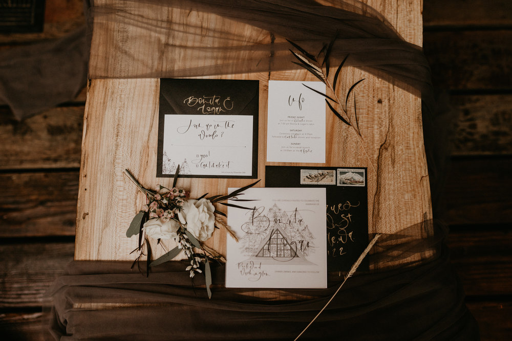 Pink by peach stationary for PNW elopement near Mt Rainier National Park