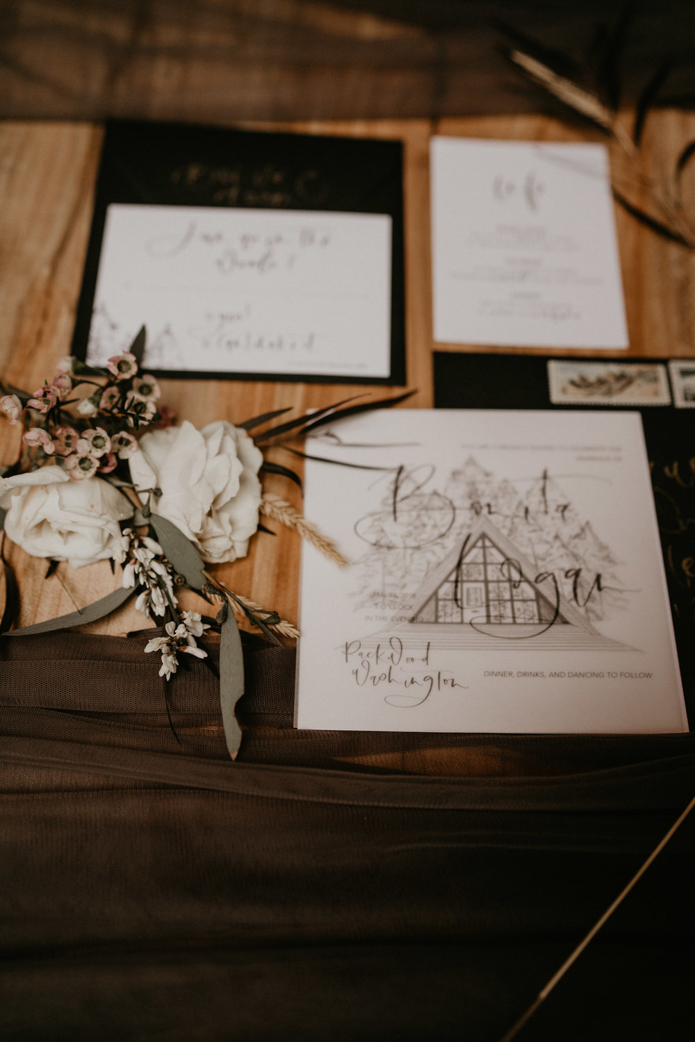 Awesome and pretty black and white invitation detail shot in Mount Rainier National Park