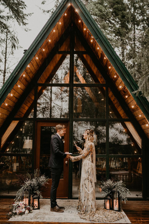 Pacific Northwest A-frame Cabin elopement near Mt Rainier National Park