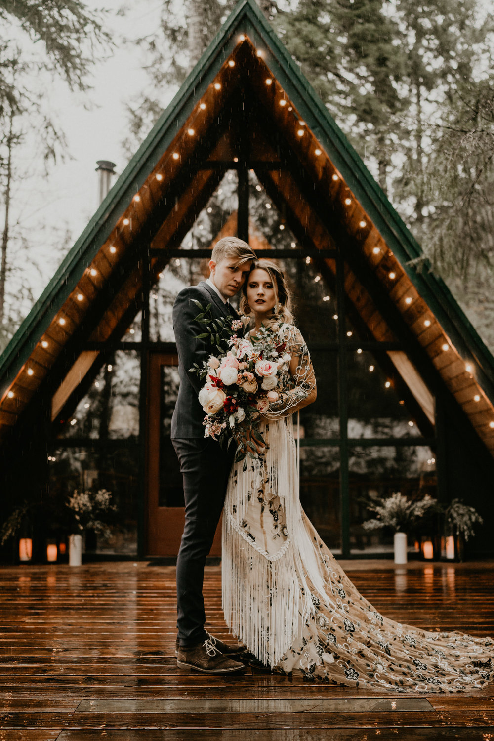 Rue de seine bridal in front of a-frame cabin elopement