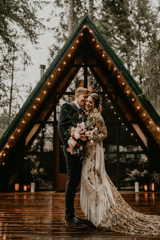 Gorgeous rue de seine bridal wedding dress with fringe boho a-frame cabin