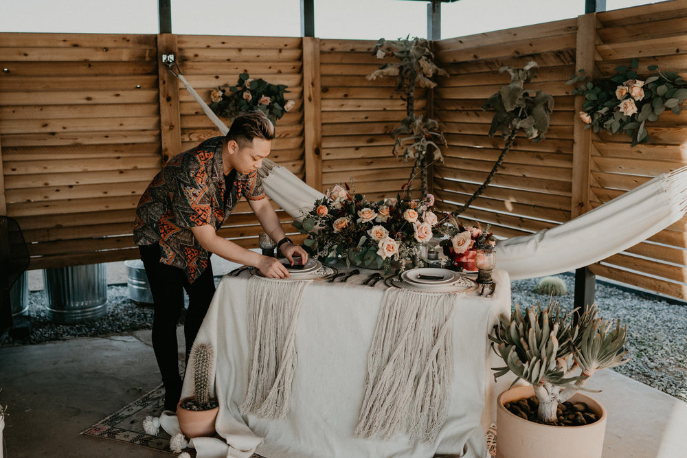 Styled by the amazing Rain and Pines - Viet Dinh - Hello, my name is Viet and I started Rain and Pines early 2018 after I realized how much I enjoy planning weddings and elopements. Despite how many jobs I've had, planning weddings and elopements are where my heart is.My work has been published on Junebug Weddings, Ruffled Blog, Bride and Tonic, and I can't wait to create some killer contents for Hey Darling.