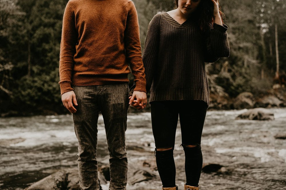 Earth tone outfits for engagement photos in Seattle
