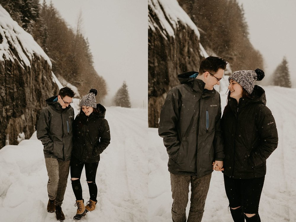Snow and winter engagement photos Alpental Ski Gold Creek Pond Lake