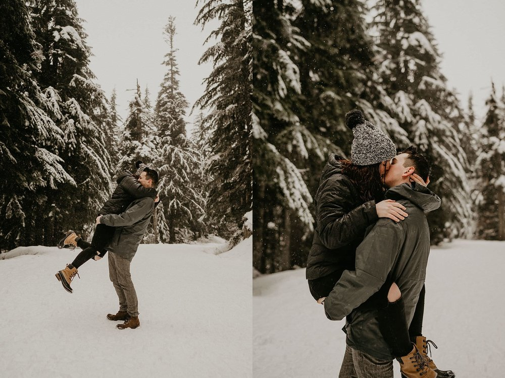 Gold Creek Pond snow engagement elopement