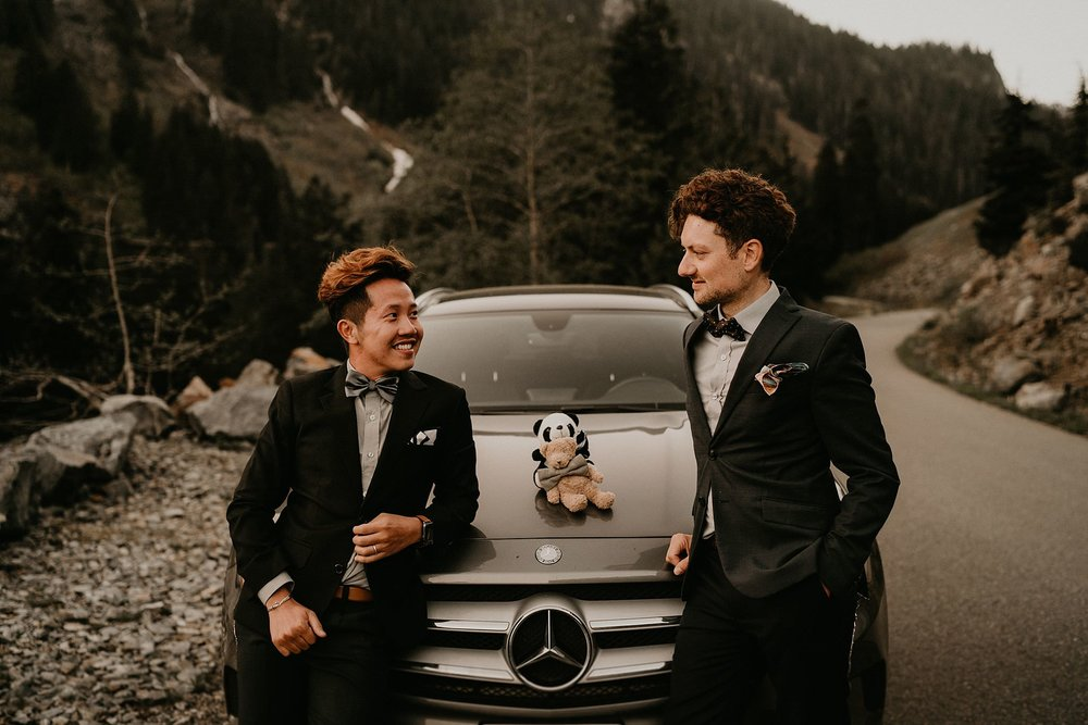 Snoqualmie Pass Franklin Falls gay couple wedding elopement engagement Mercedes